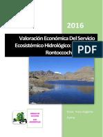VALORACION ECONOMICA DEL SERVICIO ECOSISTEMICO HIDRICO LAGUNA RONTOCCOCHA ABANCAY APURIMAC