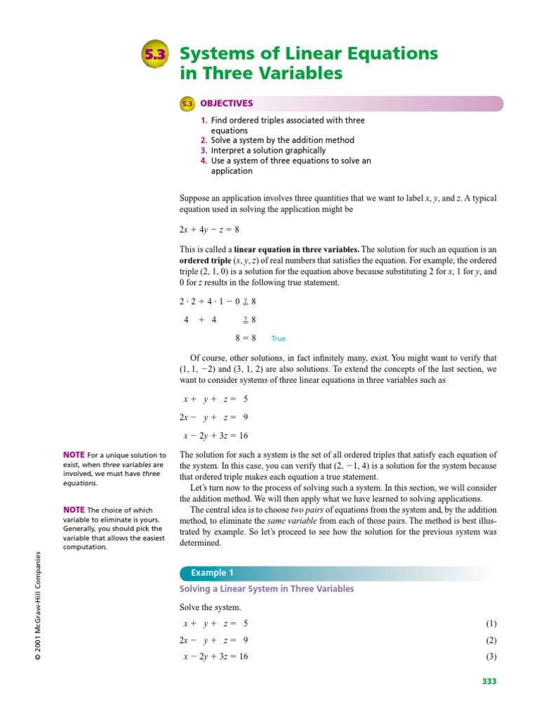 systems of 3 equations word problems worksheet algebra 2