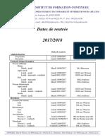 Dates de Rentree