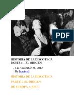 Historia de La Discoteca