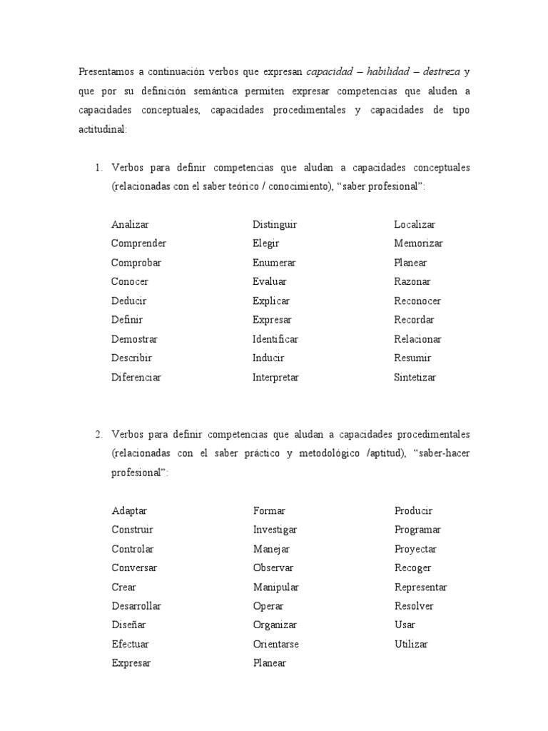 Atractivo Verbos De Acción Para Reanudar Regalo - Colección De ...