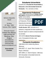 Adriana Curriculum Maracay