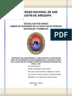 Propuesta Del Mejoramiento y Ampliación de La Disposición Final de Los Residuos Sólidos Urbanos de La Ciudad de Cusco en La Localidad de Jaquira, Distrito de Santiago Provincia de Cusco
