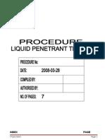 Pt-001 Rev 0 Liquid Penetrant Testing Procedure