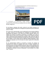 Aplicaciones de La Investigación de Operaciones en La Optimización de Supermercados