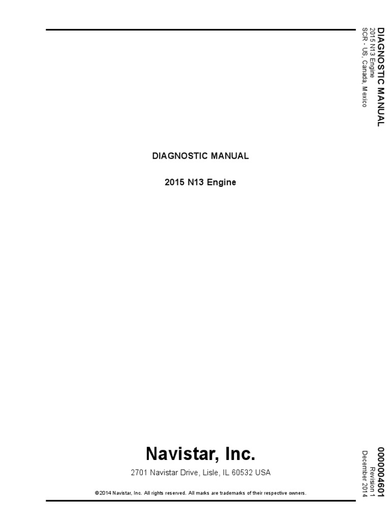 2015 N13 Engine Diagnostic Manual | Medical Diagnosis | Engines