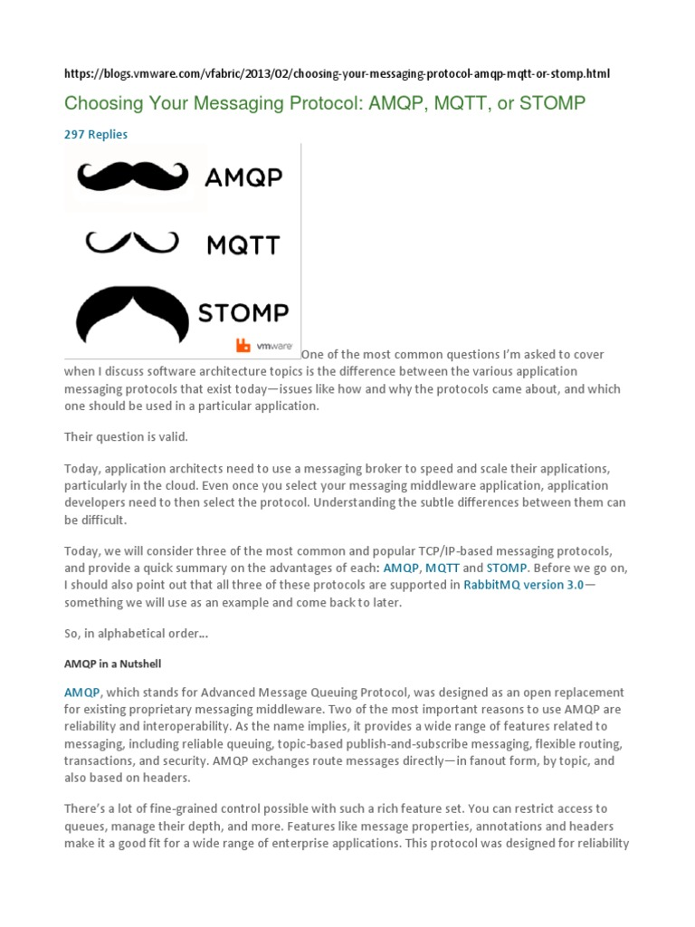Choosing Your Messaging Protocol AMQP, MQTT, Or STOMP