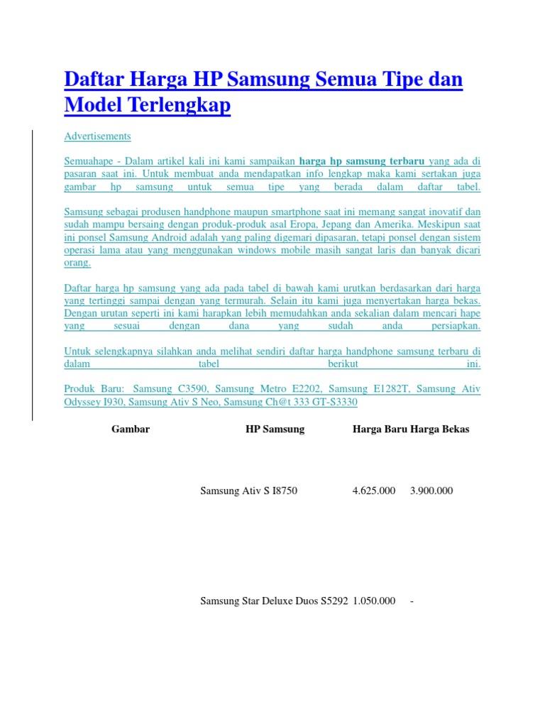 Daftar Harga Hp Samsung Semua Tipe Dan Model Terlengkap