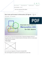 Short Notes and Formulas for Mensuration (2D Figures)