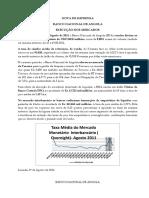 Nota de Imprensa 22 a 26-08-2011 Ajustadir Taxa de Cambio