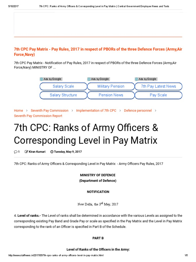 7th cpc ranks of army officers corresponding level in pay matrix