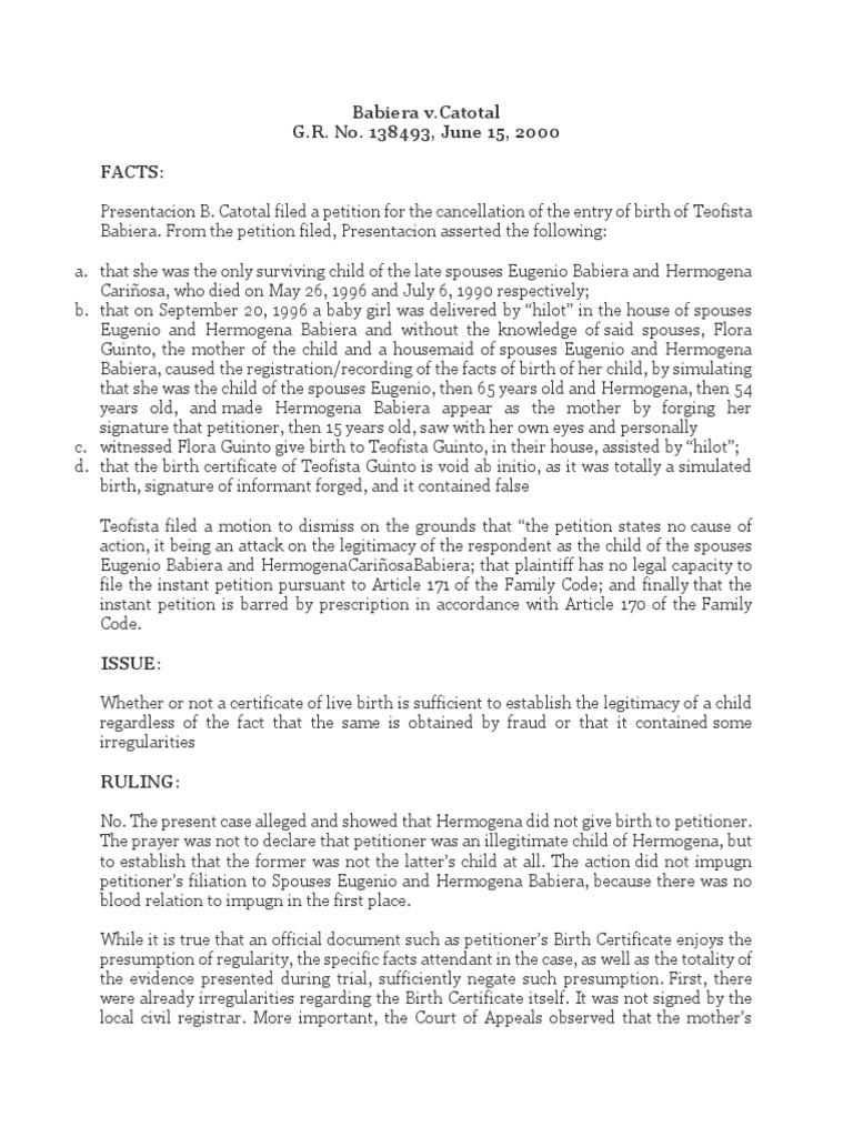 5 babiera vs catotal case digestcx birth certificate 5 babiera vs catotal case digestcx birth certificate legitimacy family law aiddatafo Choice Image