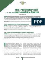 A relação entre a «performance» social e a «performance» económico-financeira