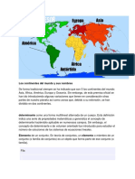 Los Continentes Del Mundo y Sus Nombres