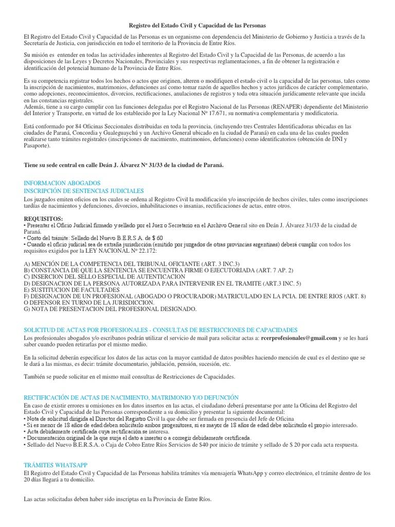 Registro Del Estado Civil y Capacidad de Las Personas