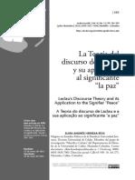 La Teoria Del Discurso de Laclau y Su Aplicacion Al Significante La Paz (Rios, 2016)
