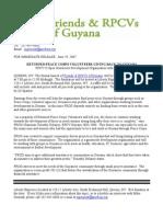 Friends & RPCVs of Guyana Fundraiser Press Release - 2007