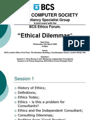 "British Computer Society: ""Ethical Dilemmas"""