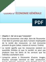 Cours de l Économie Générale-cycle Des Conseillers en Planification 2016-2017