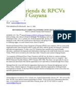 Friends & RPCVs of Guyana Fundraiser Press Release - 2008