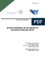 Anuario Estadistico de Accidentes en Carreteras Federales 2012