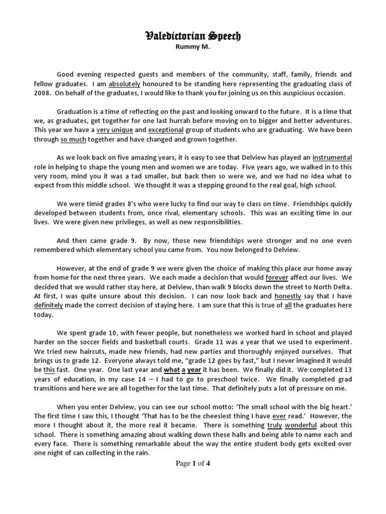 Valedictorian Speech with Dr Seuss Quote – Salutatorian Speech Examples