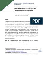 APPORT DE LA FINANCE COMPORTEMENTALE A L'EXPLICATION DE LA volatilité