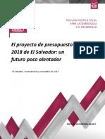 El proyecto de presupuesto 2018 de El Salvador