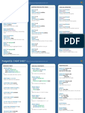 PostgreSQL Cheat Sheet | Table (Database) | Information