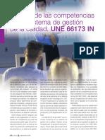 Gestion de Las Competencias en Un Sistema de Gestion de La Calidad. UNE 66173. 2008