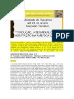 Chamadas de trabalhos [JALLA 2018] Tradução, Intermidialidade e Adaptação na América Latina - até 29 de janeiro