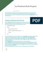 Aturan Cara Penulisan Kode Program Pascal