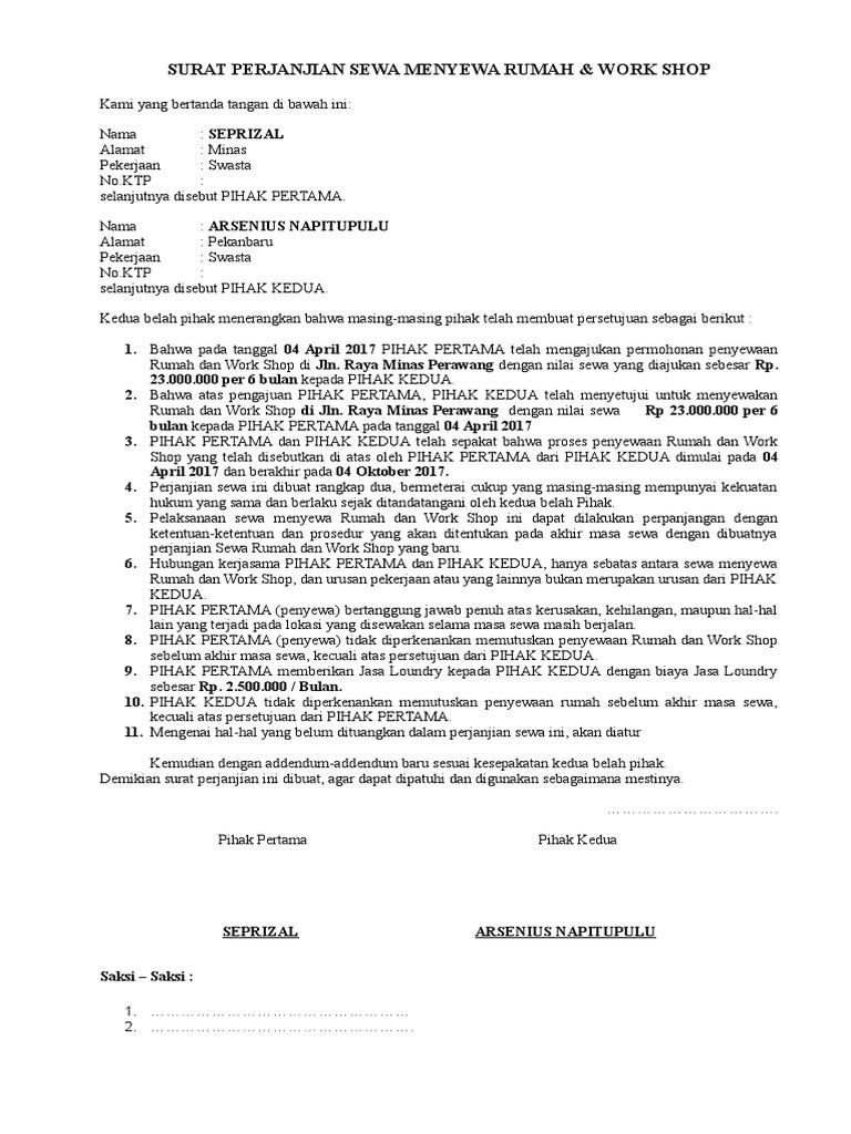 Contoh Perjanjian Sewa Menyewa Rumah Pdf Download Poksicon