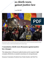 Commission Chiefs Warn Romania Against Justice Law Changes – POLITICO