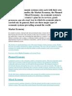 Three Types of Economic Systems Exist
