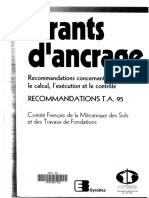 Tirants d'ANCRAGE - Recommendations TA95 - French Experience
