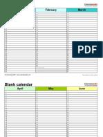 Blank Calendar Landscape 4 Pages