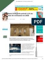 Bank Al-Maghrib Prévoit 1,2% de Taux de Croissance en 2016