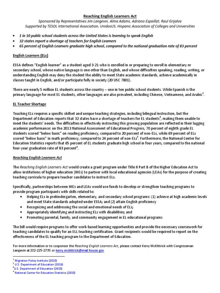 Reaching English Learners Act Summary Pedagogy Teachers