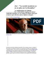Charles Taylor La Société Moderne Se Fonde de Plus en Plus Sur La Discipline
