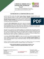 Comunicado No Renunciar a La Construccion de La Paz Enero 23 de 2018