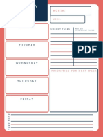 Red and Blue Simple Weekly Schedule Planner