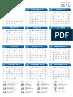 2018 Calendar Portrait Format