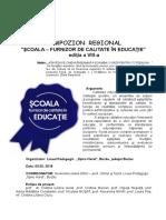 0 Regulament Simpozion Scoala Furnizor de Calitate in Educatie 2018