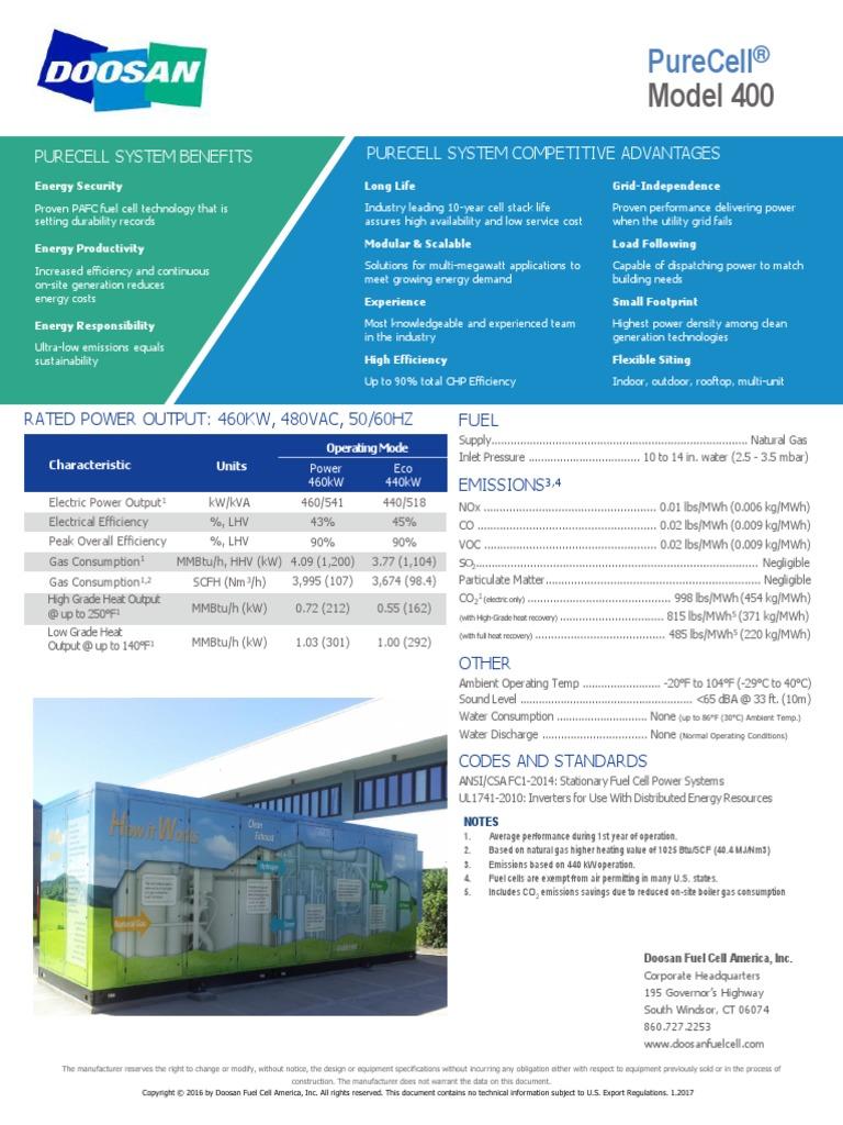 PureCell Model 400 Datasheet | Natural Gas | Kilowatt Hour