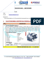 Cotizacion 643 - Electrobomba, Cp680c, 5.5 Hp - f32-200c, 5.5hp. Sr. Juan Carlos
