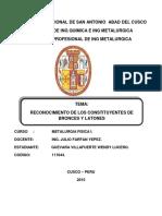analisis metalografico de bronces y latones, metalurgia fisica