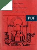 Two Studies in Roman Nomenclature 1976