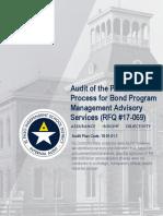 Audit of Procurement for Bond Program Mgmt Advisory Svcs (RFQ17-069)
