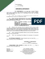Driver Affidavit